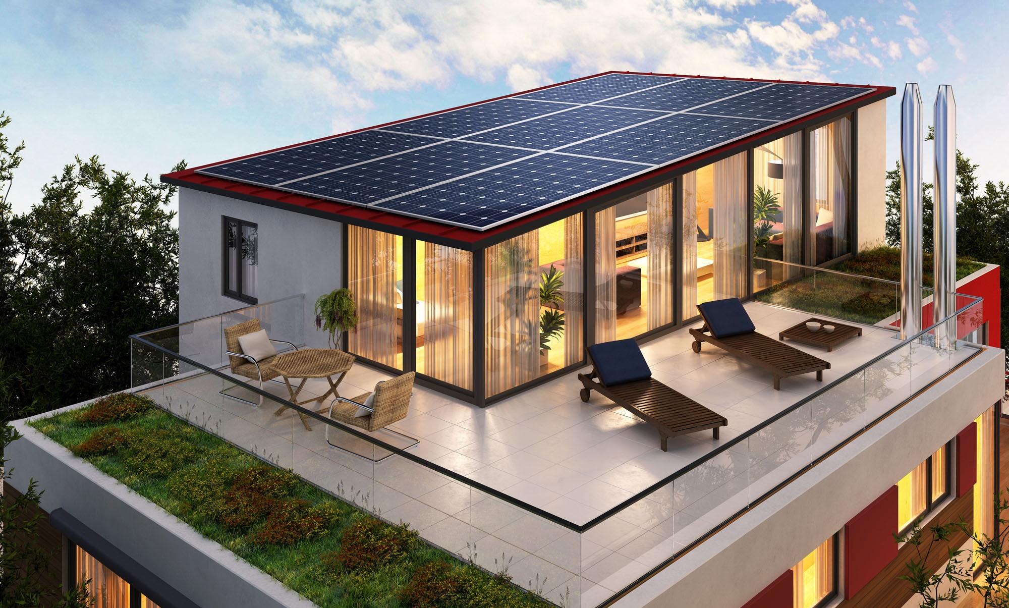 Dachterrasse mit Solaranlage